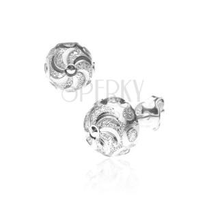 Stříbrné puzetky 925 - spirála se třpytivými kruhy