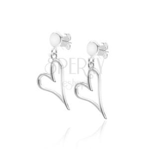 Náušnice ze stříbra 925 - nepravidelná prodloužená kontura srdce