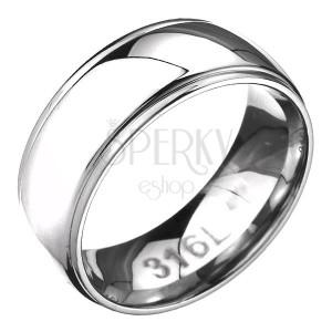 Prsten z oceli - zaoblená obroučka se dvěma rýhami po okrajích