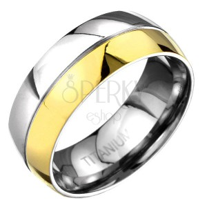 Prsten z titanu - zlato-stříbrný zaoblený prsten s dělící rýhou
