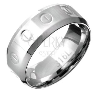 Prsten z oceli - obroučka se vzorem kruhů a čárek, zkosené okraje
