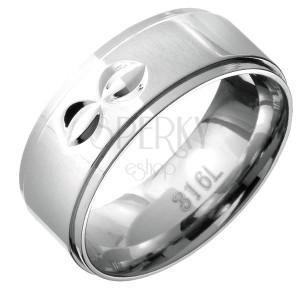 Prsten z oceli - vystouplý střed s dvojitými poloměsičitými zářezy