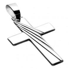 Přívěsek ze stříbra 925 - plochý latinský kříž s motivem paprsků X35.9
