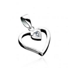 Stříbrný přívěsek 925 - linie srdce se zirkonovým srdcem X25.2