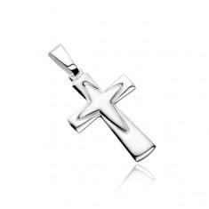 Stříbrný přívěsek 925 - kříž s obrysem špičatého kříže uprostřed X40.20