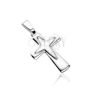 Stříbrný přívěsek 925 - kříž s obrysem špičatého kříže uprostřed
