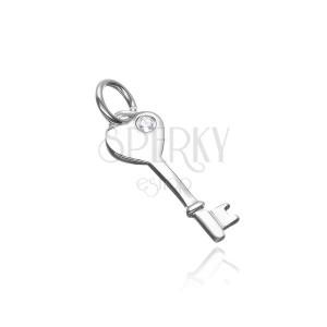 Přívěsek ze stříbra 925 - klíč se srdcovou hlavou se zirkonem