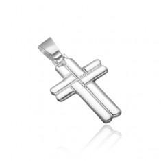 Stříbrný přívěsek 925 - propletený zaoblený kříž X44.5