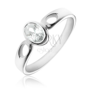 Stříbrný prsten 925 - oválný čirý zirkon, ramena se slzičkami