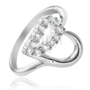 Stříbrný prsten 925 - kontura srdce, čirá zirkonová polovina
