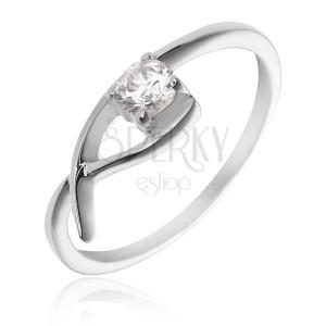Prsten ze stříbra 925 - jemná smyčka s čirým zirkonem