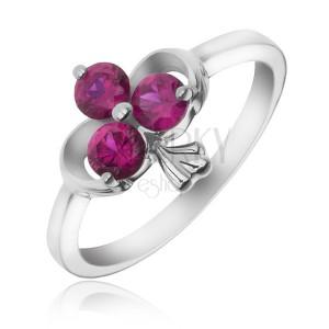 Stříbrný prsten 925 - stuha a zirkonový trojlist fuchsiové barvy