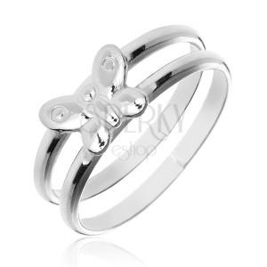 Prsten ze stříbra 925 - dvojitý prstýnek s motýlem uprostřed
