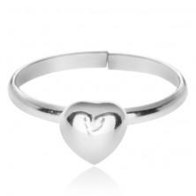Stříbrný prsten 925 s vystouplým plným srdcem