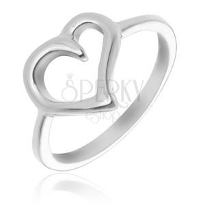 Prsten ze stříbra 925 - obrys nepravidelného srdce