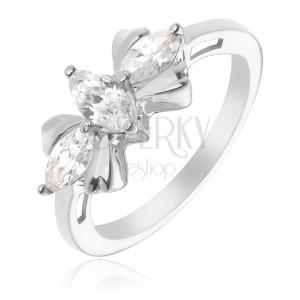 Stříbrný prsten 925 - mašle se třemi čirými kameny