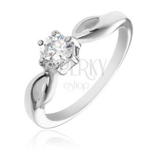 Stříbrný prsten 925 - kulatý čirý zirkon, ramena se slzičkami
