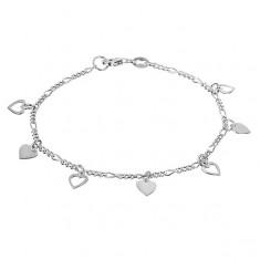Stříbrný řetízek 925 na ruku s plnými a obrysovými srdci X41.9