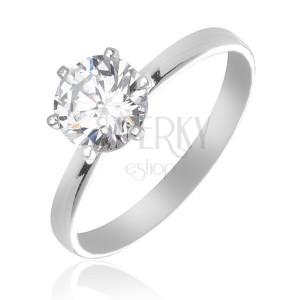 Stříbrný snubní prsten 925 - čirý zirkon uchycený šesti paličkami