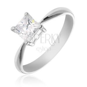 Zásnubní prsten ze stříbra 925 - čtvercový zirkon v objímce