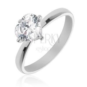 Stříbrný prsten 925 s vystouplým čirým zirkonovým srdcem