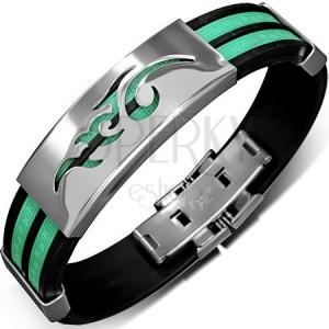 Gumový náramek - zelenočerný, řecký klíč, tribal na kovové známce