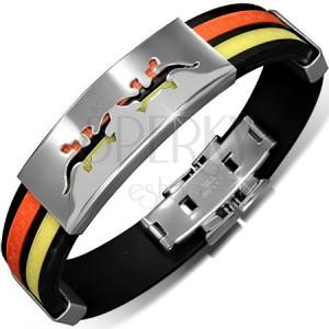 Náramek z gumy - černý s oranžovým a žlutým pásem, známka s ještěrkami
