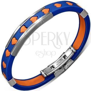 Náramek z pryže - modrý s oranžovými srdíčky a kovovými ozdobami