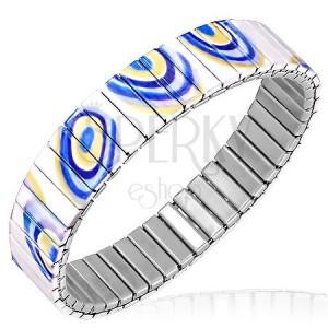 Ocelový náramek - roztahovací bílé články s modro-žlutým vzorem