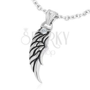 Přívěsek z oceli - patinované andělské křídlo se zirkonem