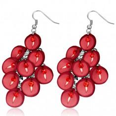 FIMO náušnice - visací, hrozen červených květů kaly