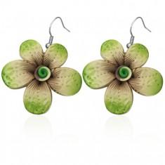Fimo náušnice - zelený květ s potiskem, spirála uprostřed