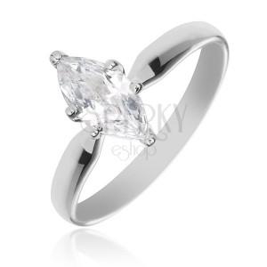 Zásnubní prsten ze stříbra 925 - velký třpytivý zirkon ve tvaru zrnka