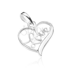 Přívěsek ze stříbra 925 - nápis LOVE uvnitř srdce