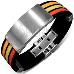 Černý gumový náramek s barevnými pásy a lesklými známkami