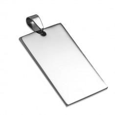Ocelový přívěsek - hladká obdélníková známka stříbrné barvy X25.8