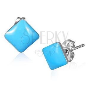 Puzetové náušnice z oceli - pastelově modré čtverce