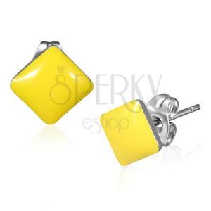 Ocelové čtvercové náušnice - pastelově žlutá barva