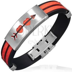 Náramek z gumy - červené pásy, známka s prostřelenými srdci