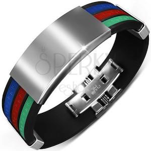 Černý gumový náramek se třemi barevnými pásy a hladkými známkami