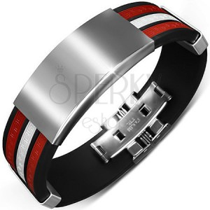 Černý náramek z gumy - bílý středový pás a hladké kovové ozdoby