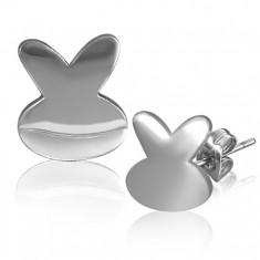 Ocelové náušnice - lesklý symbol zajíčka X25.16