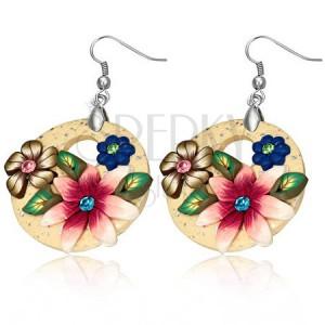 Fimo visací náušnice - béžový kruh se třemi květy a zirkony