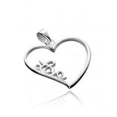 Stříbrný přívěsek 925 - velké obrysové srdce s nápisem Love X45.5
