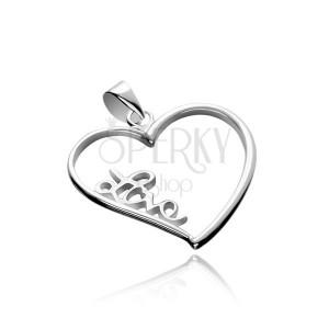 Stříbrný přívěsek 925 - velké obrysové srdce s nápisem Love