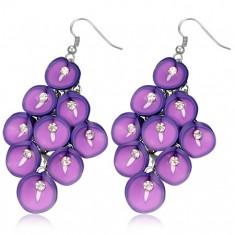 Náušnice fimo - hrozen fialových Anturií se zirkonem