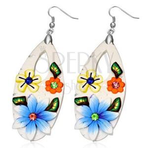 Fimo náušnice - bílá slza s barevnými květy a zirkony