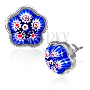 Ocelové náušnice - modrý skleněný květ v podkladu