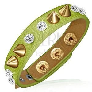 Náramek z kůže - zelený proužek s čirými kameny a zlatými hroty