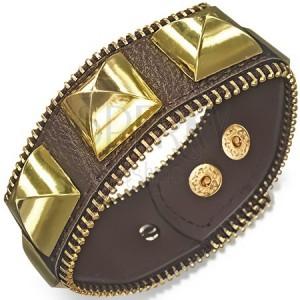 Mohutný kožený náramek - hnědý se zlatými pyramidami, zip